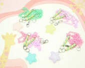Frosted Pastel Pink Glitter Shooting Star Resin Baby Mint Chain Marshmallow  Necklace