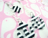 Black White Stripe White Baby Plastic Chain Drop Anchors Away Earrings