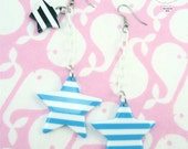 Blue White Striped Star White Baby Plastic Chain Drop Anchors Away Earrings