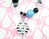 Black White Stripe Anchor Charm White Plastic Chain Drop Swarovski Sparkle Anchors Away Lucite Stretch Bracelet