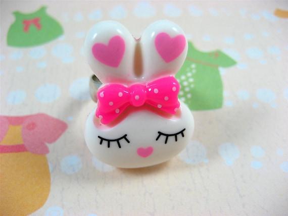 Pink Bunny Boo Adjustable Ring
