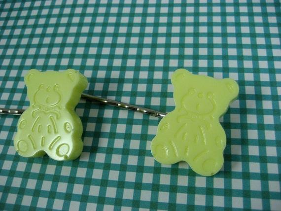 Pastel Yellow Resin Teddy Bear Bobby Pins