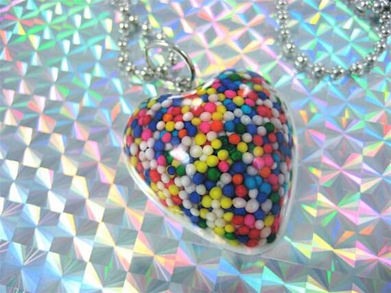 Fairy Bread Rainbow pOp Candy Sprinkles Heart Resin Necklace