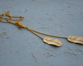 Gold Feather Lariat necklace