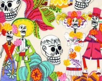 Los Novios Day of the Dead- Alexander Henry Skeleton 1 Yard Fabric