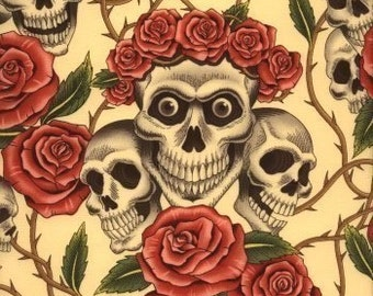 Skull and Roses Day of the Dead- Alexander Henry Skeleton 1 Yard Fabric
