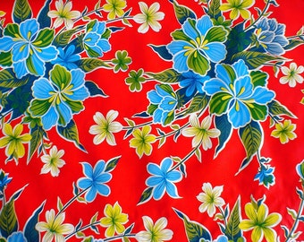 Colorful Red Hibiscus 1 Yard Oilcloth