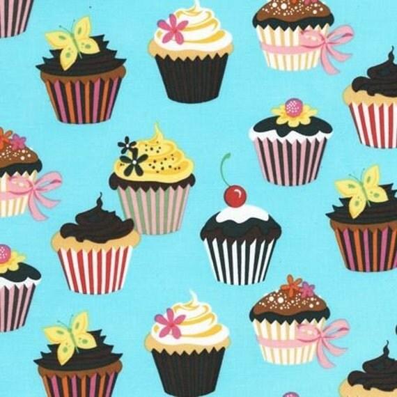 Turquoise Cupcake Sweet Tooth by Robert Kaufman Fabric 1 Yard Fabric