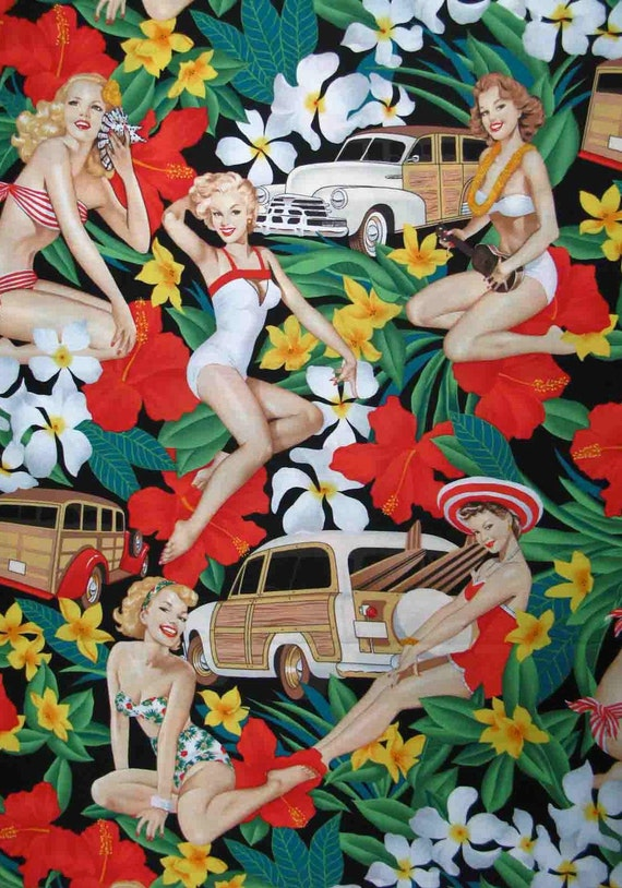 Pin up Fabric Hawaiian Aloha Pin up Fabric