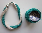 TWIST hand crocheted bracelet (green and natural)