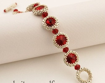 Step by step INSTANT download Pdf beading PATTERN Siam Eyes Bracelet
