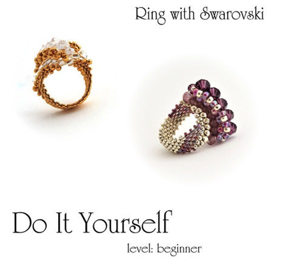 step by step INSTANT download Pdf beading PATTERN Ring #7