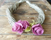 Spring Pink Linen Rose -Linen Necklace