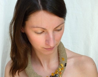 Baltic Amber Crochet Linen Necklace