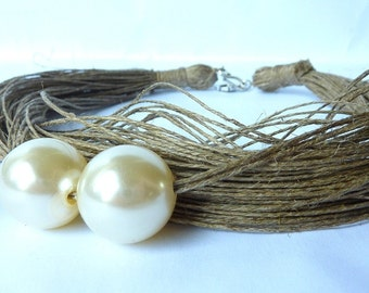 Just two pearls - Linen Necklace