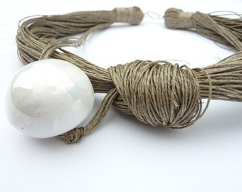 One of a Kind Linen Necklace with  White Ceramic Touch
