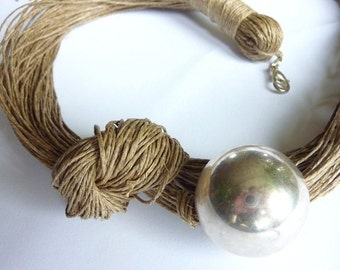 One of a Kind Silver Linen Necklace