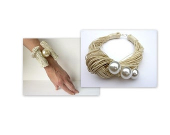 GIFT IDEA  Ivory Linen necklace with pearls and crochet bracelet / Linen Bib / Bridal Necklace / Gift