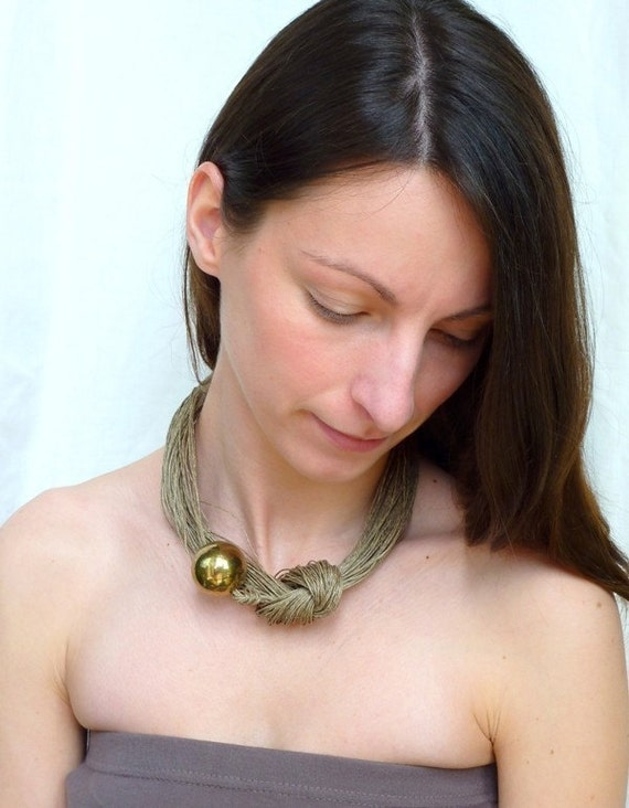 Summer Gold Ball Linen Necklace