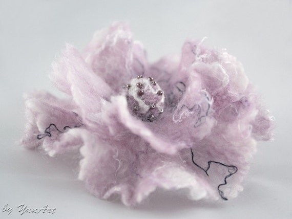 Felted wool brooch pin fantasy flower lavender