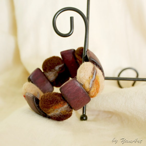 Felted bracelet - natural tones - wooden wool beads - Stone beads - Ready to ship - mothers day gift