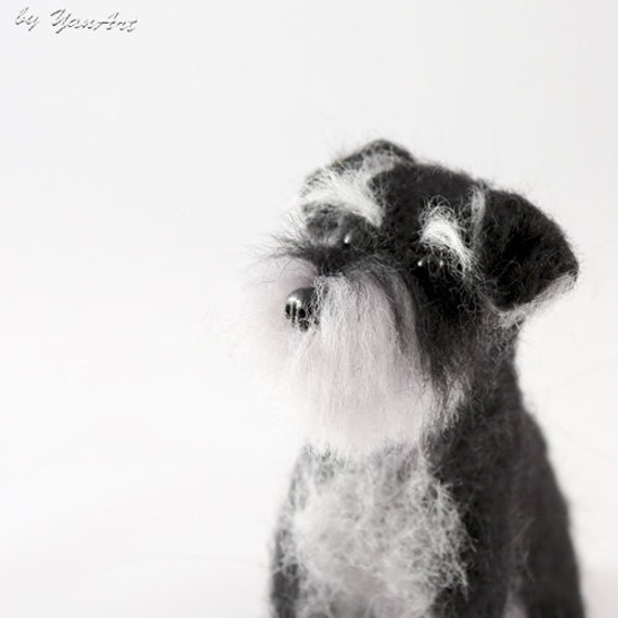 Schnauzer Custom Realistic Needle Felted Dog / Pet Portrait Sculpture - OOAK - Breed schnauzer - under 100