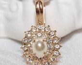 Vintage Bridal Princess White Rhinestone Faux Pearl Pendant with Clip Bail