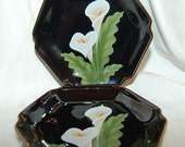 Stunning Calla Lily Dishes from Otagiri Japan Lot of 2 Fine Collectible Plates for a Black and White Wedding