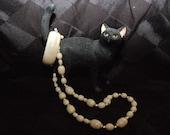 Elegant White Beaded Necklace and Bracelet Set, Lot of 2 Items