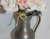 Rustic Chic Pewter Stein Mug Pitcher Vase for Eco Chic Vintage Wedding Decor at Chat Noir Studio
