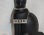 Vintage Raven Name Necklace for a Gothic Wedding Bride or Halloween and Day of the Dead Jewelry at Chat Noir Studio