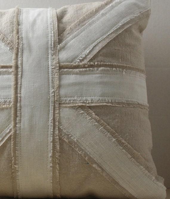 Union Jack Linen and Canvas Pillow Slip- Square