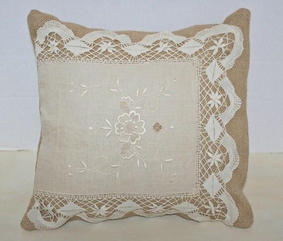 Burlap Pillow Cover with Vintage linen applique