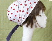 Head cover scarf Red polka dots