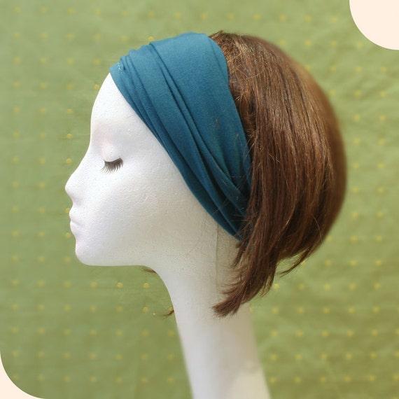 Rayon spandex stretchy jersey wide Yoga headband Teal