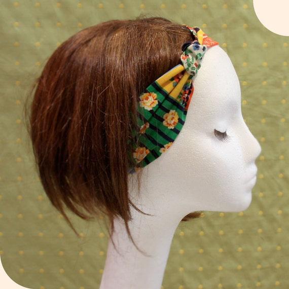 Vintage fabric knot headband patchwork