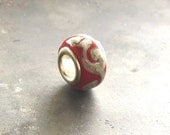 Red and Ivory Lampwork Euro Bead