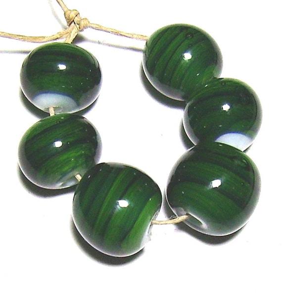 Streaky green lampwork glass round bead set