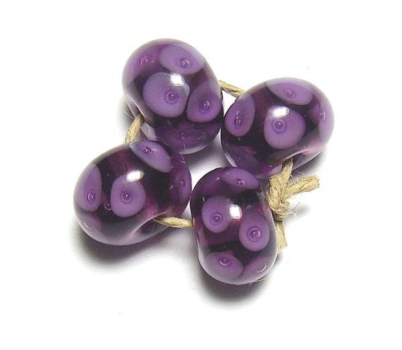 Purple Lampwork Beads Trapped Bubbles