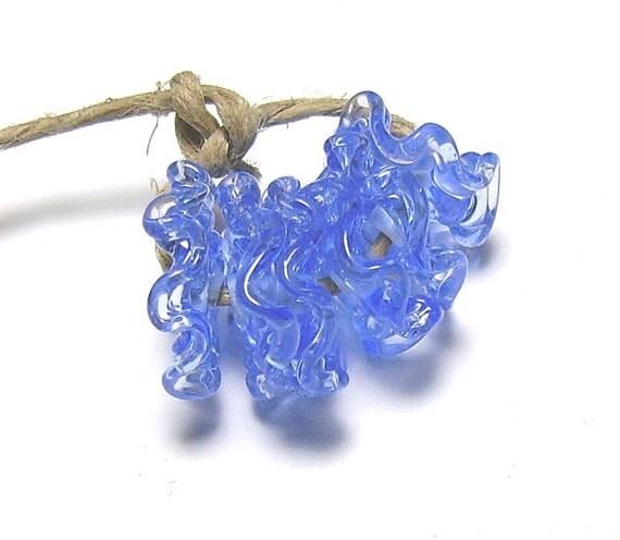 Lampwork Ruffles - Transparent Blue