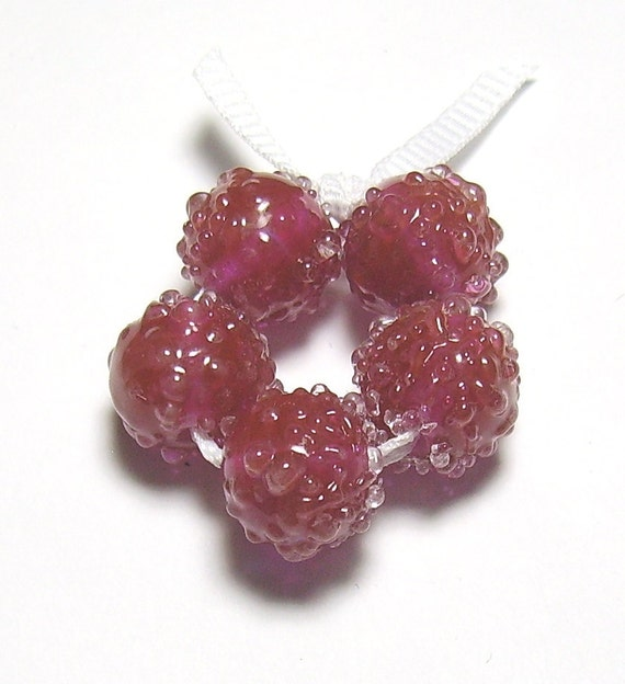 Cranberry Red Lampwork Set Sugared Berries