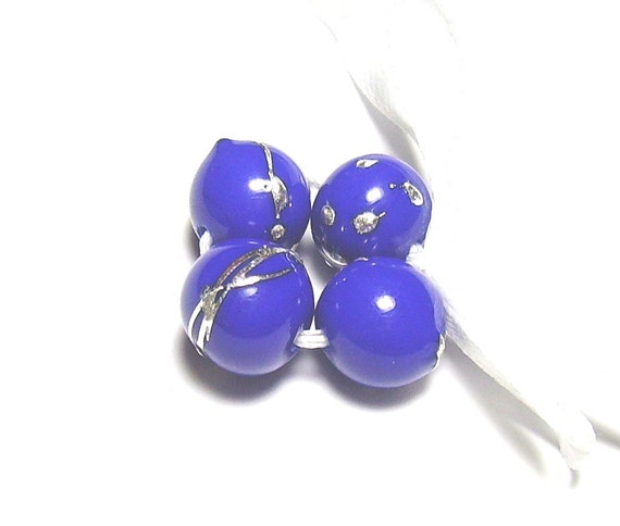 Blue and Silver Lampwork Rounds