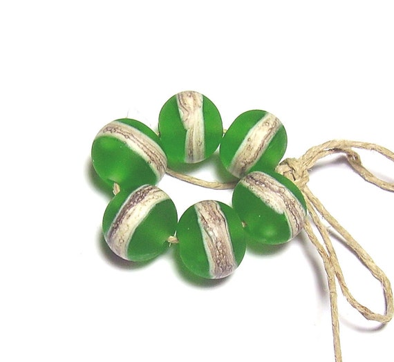 Green Lampwork Set - Sea Glass Rounds with Silvered Ivory