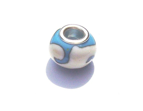 Turquoise and Ivory Lampwork Euro Bead