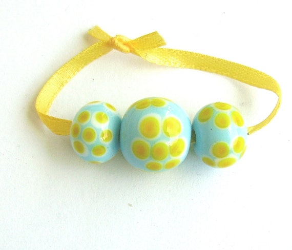 Blue and Yellow Lampwork Trio - Flower Power