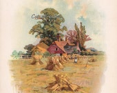 vintage scenic print - FARM HOUSE - Victorian country artwork from the 1890s