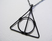 Wire Wrapped Deathly Symbol Necklace (Black)