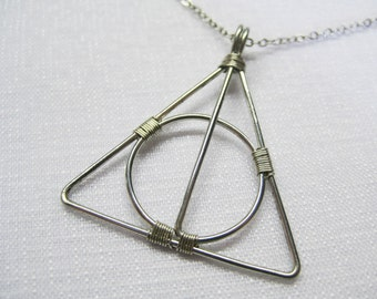 Wire Wrapped Deathly Symbol Necklace (Silver)