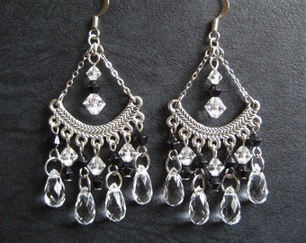 Chandelier Earrings with Black and Clear Teardrop Beads