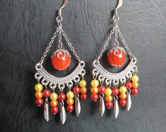 Indian Style Chandelier Earrings in Red Orange and Yellow Theme